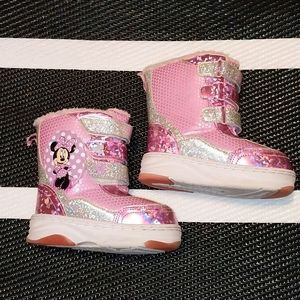 Minnie Mouse Light Up Snow Boots Toddler Size 10